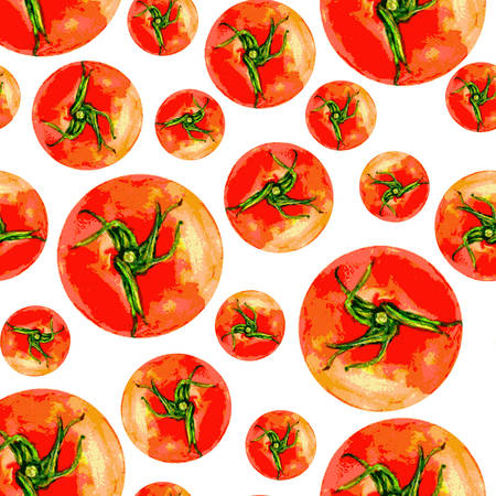 greengrocery: Tomato vetor watercolor illustration isolated on white background, Vector seamless pattern,Template for menu, product design, cards, restaurant menu, package, harvest, organic natural product