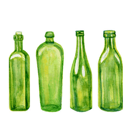 Different green bottles, hand drawn watercolor illustration isolated on white background, kitchen glass dishware for design restaurant and cafe menu, template label, sticker, print, alcoholic shop