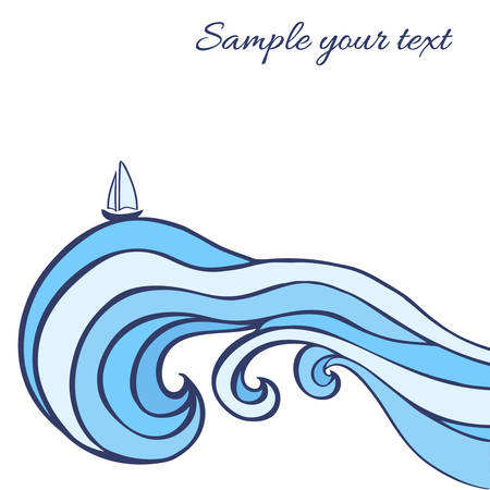 curlicues: Abstract blue sea waves with sailboat isolated on white background, graphic illustration, decorative frame with space for text, design greeting card, wedding invitation, travel postcard, print