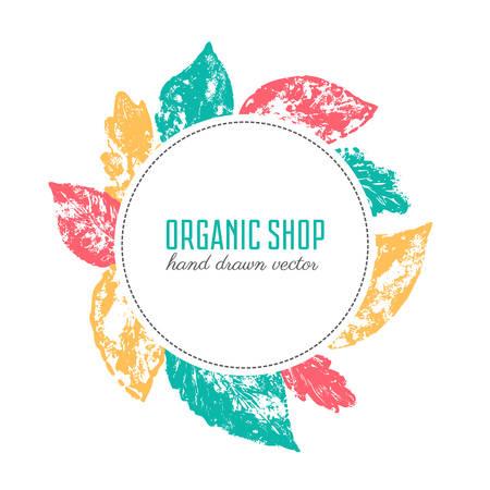 Herbst Stempelabdruck Blätter, Hand gezeichnete Skizze, runden Rahmen mit Laub, Kräuter-Textur, dekorativen Hintergrund für Design-Label, Verpackung organischen Natur Projekt, Schablone kosmetische