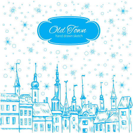 old houses: Christmas greeting card with european old houses and snowflake, Template poster, card with urban scene, snowed in city street,  whimsical style cartoon illustration, holiday invite