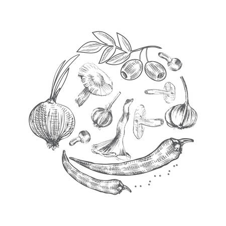 onion isolated: sketch vegetables, illustration mushrooms, olive, pepper, onion isolated on white, Ideal for use in organic food industry, healthy green food market, vegetarian restaurant menu Illustration