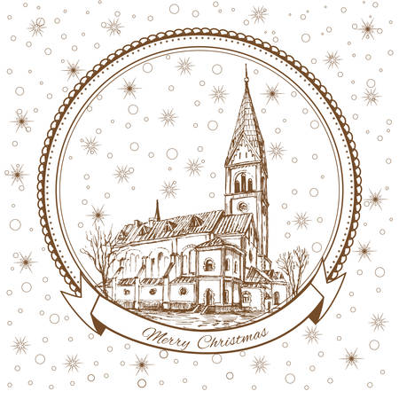 The Church of Queen Luisa, Luizenvahl. Landmark of the Kaliningrad, Russia Christmas greeting card with symbol of the Konigsberg and snowflake, Template poster with snowed-in city street