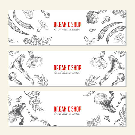 food industry: Hand drawn sketch vegetables banner, illustration mushroom, olive, pepper, onion isolated on white, Ideal for use in organic food industry, healthy green food market, vegetarian restaurant menu Illustration