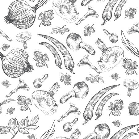 food industry: seamless pattern, Hand drawn sketch vegetable, Mushrooms, olive, pepper, onion, parsley isolated, Ideal for use in organic food industry, healthy green food market, vegetarian restaurant menu