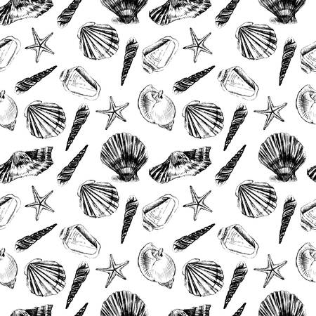Seashells hand drawn vector graphic etching sketch isolated on white background, seamless pattern, underwater artistic marine black texture, design for greeting card, decorative textile, water fabric