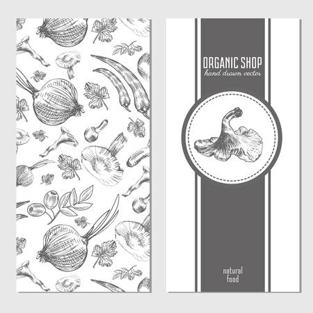 onion isolated: Vector cards, banners with hand drawn sketch vegetables, mushrooms, olive, peppers, onion isolated on white, vector seamless pattern for used in organic food industry, healthy market, restaurant menu