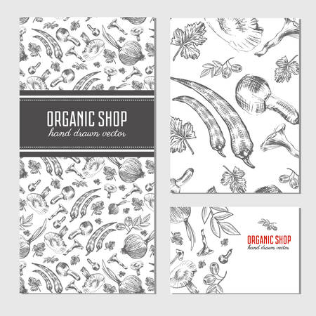 onion isolated: Cards, banners with hand drawn sketch vegetables, mushrooms, olive, peppers, onion isolated on white, vector seamless patterns for used in organic food industry, healthy market, restaurant menu