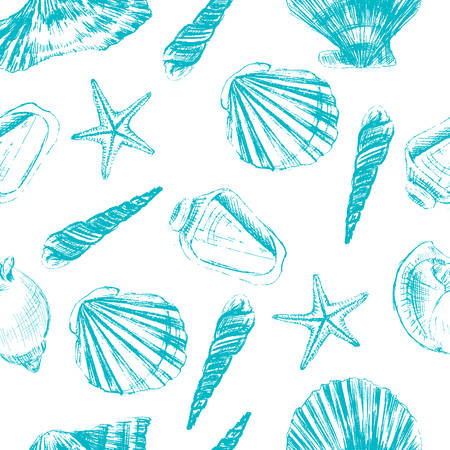 Seashells hand drawn vector graphic etching sketch isolated on white background, seamless pattern, underwater artistic marine blue texture, design for greeting card, decorative textile, water paper