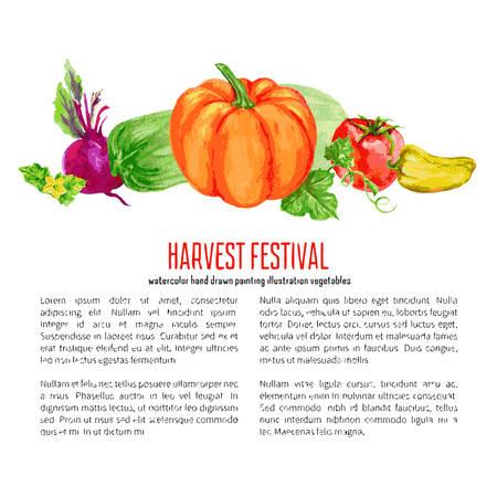 farmer market: Watercolor vector vegetable pumpkin, tomato, yellow pepper, zucchini, beets hand drawn illustration isolated on white background, decorative frame for design advertising, harvest, farmer market