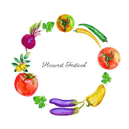 farmer market: Watercolor vector vegetable tomato, olives, beets, chili pepper, eggplant, parsley hand drawn illustration isolated on white, round frame, wreath for design advertising harvest festival, farmer market