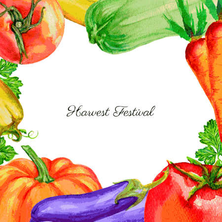 farmer market: Watercolor vector vegetable pumpkin, tomato, pepper, zucchini, beets, carrot, parsley hand drawn illustration isolated on white, frame for design advertising harvest, farmer market, organic product