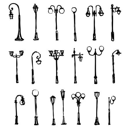 Street light hand drawn vector doodle sketch isolated on white background, Lamp posts silhouettes, ink drawing illustration, decorative vintage set brush template for design printing, elements pattern