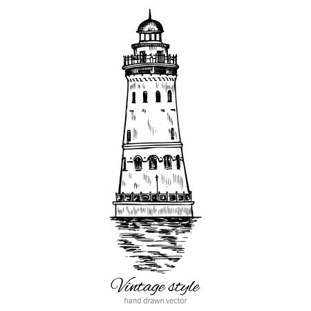 fishing village: Lighthouse hand drawn ink vector illustration sketch, engraving tower of vintage style, Ethnographic trade center embankment of the Fishing Village river Pregel, Kaliningrad Russia, for touristic card Illustration