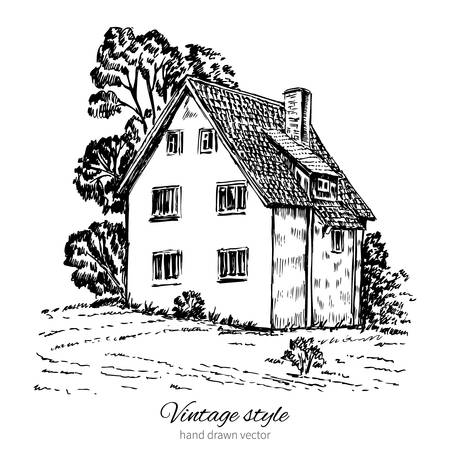 Vintage tile old european house, vector  engraving sketch mansion, Rural landscape, Historical building line art isolated, touristic postcard, poster, calendar template, book illustration, page idea
