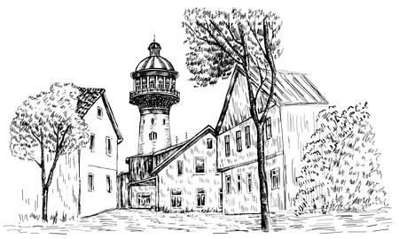Old water tower, symbol of Zelenogradsk earlier Cranz, Landmark of the Kaliningrad region, Russia, Vector hand drawn sketch isolated on white background, Postcard drawing template with european house