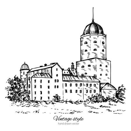 vyborg: Vyborg castle, Europe, Old Swedish castle in Vyborg city, landmark Russia, Hand drawn vector ink sketch isolated on white background, vintage style, Design for travel postcard, calendar template Illustration