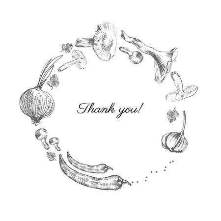 Hand drawn sketch vegetables, Vector illustration mushrooms, olive, pepper, onion isolated on white, Ideal for use in organic food industry, healthy green food market, vegetarian restaurant menu Illustration