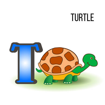 Cute Zoo alphabet T with cartoon turtle, kid wild animal vector funny illustration isolated on background, Education for children, preschool, ABC poster for learn to read, character design, mascot