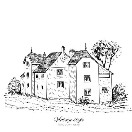 Mansion vintage vector sketch tile old european house, Historical building line art isolated, touristic postcard, poster, calendar template, idea with european construction, book illustration