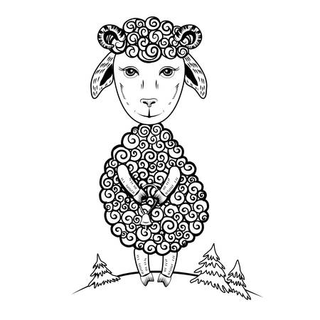 Cute little lamb cartoon sheep graphic hand drawn illustration, ink sketch cub ewe isolated on white background, farm animal. Character design for baby shower, greeting cards, children invite.