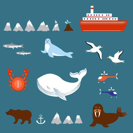 Marine set seagulls, salmon, whale, seal, walrus, ship, volcano, geyser, helicopter, crab isolated on white background, decorative sea colorful elements for design advertising greeting card.