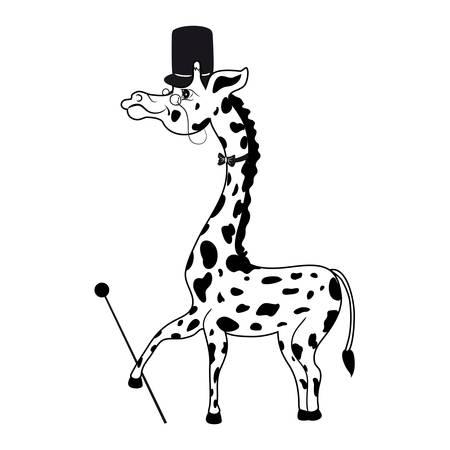 적합: 실린더, 넥타이, 지팡이, 안경 장식 재미 있은 셀 수 기린 로고, 마스코트, 캐릭터 디자인, 아기 카드, 동물원에 적합 한 흰색 배경에 고립 된 만화 벡터