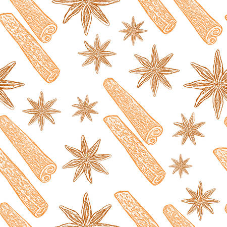 Cinnamon sticks, star anise isolated white background, hand drawn sketch, seamless vector pattern, decorative texture spice, food ingredient for healthy market, restaurant menu, cosmetic, harvest