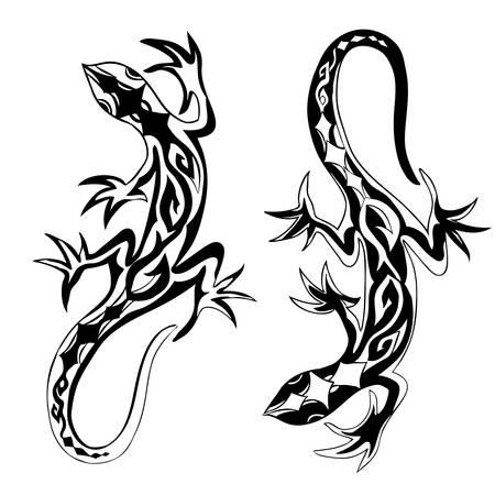 Reptiles decorativos lagartos reptiles con colas curvadas largas decorado adorno geométrico aislado sobre fondo blanco, ilustración vectorial adecuado para tatuaje, logotipo o diseño de mascota, libro de recuerdos, portada