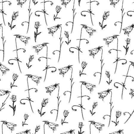 campanula: Seamless floral vector pattern, Bell flower sketch hand drawn isolated on white background for card, package cosmetic, tea, coffee, magazines, web site, restaurant menu, decorative wallpaper, textile Illustration