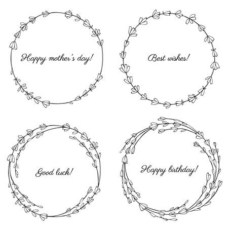Lavender flowers wreath isolated on a white background, Round frame hand drawn doodle vector sketch herbal vintage graphic engraving collection, set for cards, invitation, wedding design, cosmetic