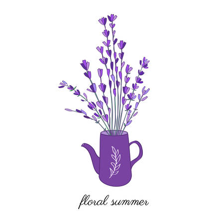 Watering can with lavender flower bouquet hand drawn vector doodle colorful sketch isolated on white, design gardening elements, for florist shop, wedding invitation, greeting card, package cosmetics Illustration