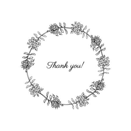 Thyme Hand drawn Botanical vector Illustration isolated on white, Healing herbs, Round frame with space for you text perfect for greeting cards, invitations, packaging,label and other project