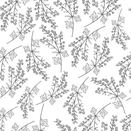 Seamless vector pattern Artemisia absinthium, wormwood hand drawn vector ink sketch isolated on white Also called absinthium absinthe wormwood, wormwood, common wormwood, Wormwood herb, Absinthe plant