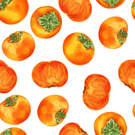 Watercolor persimmon hand drawn illustration isolated on white background, seamless pattern food ingredient, organic tropical fruit decorative texture for design restaurant menu, healthy green market Illustration