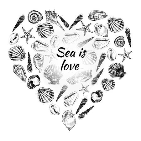 Seashell heart hand drawn vector etching sketch isolated on white background, decorative frame, underwater marine texture, template label layout design for card, beauty salon, natural cosmetic shop Illustration