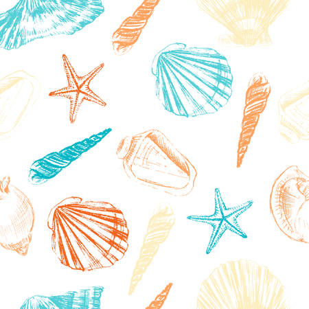 Seashells hand drawn  colorful etching sketch isolated on white background, seamless pattern, underwater artistic marine blue texture, design for greeting card, decorative textile, water fabric