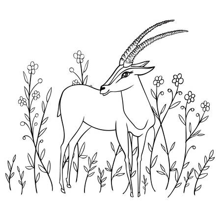 Decorative Gazelle graphic hand drawn vector cartoon doodle animal illustration, standing African safari antelope with curved horns isolated on white background among flowers, for design greeting card