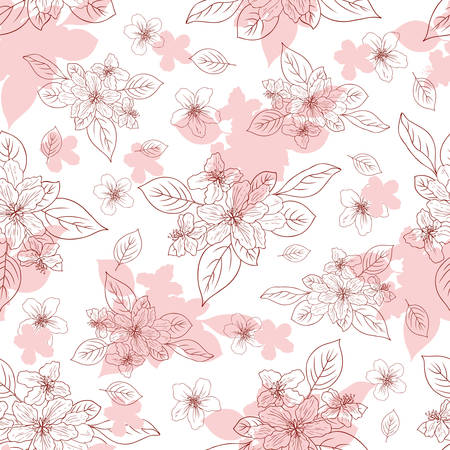 japanese garden: Apple flower blossom hand drawn isolated on white background, seamless vector floral pattern, pink sakura outline art for greeting card, package design cosmetic, wedding invitation, wallpaper beauty