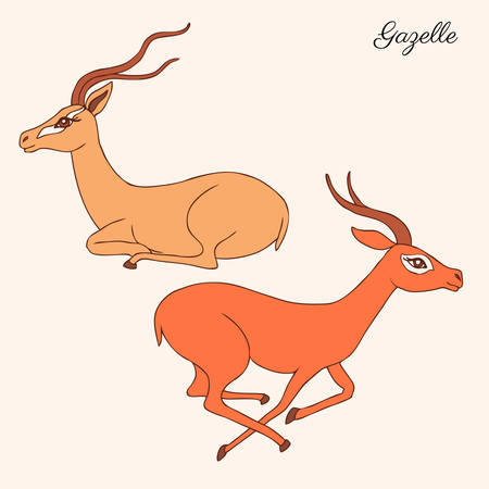 Decorative Gazelle graphic hand drawn vector cartoon doodle animal illustration, running and sitting colorful African safari antelope with curved horns isolated on white background, for design cards