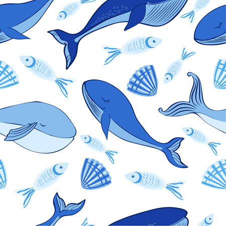 Seamless vector pattern, Sleep Blue Whale cute cartoon illustration isolated on white background, doodle animal, decorative texture, Character design for greeting card, children invite, baby shower 矢量图像