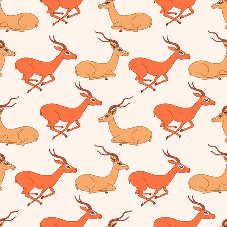 Seamless pattern, Decorative Gazelle hand drawn vector cartoon doodle animal illustration, running and sitting African safari antelope with curved horn isolated on white background, for design paper