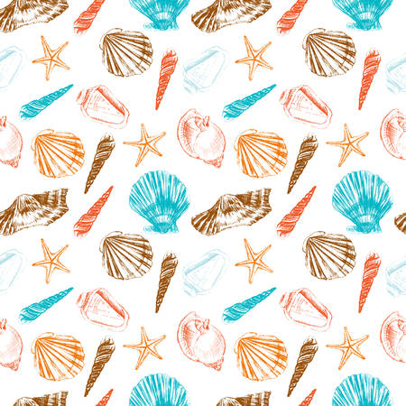 Seamless pattern underwater artistic marine colorful texture, Seashell hand drawn ink etching sketch isolated on white background, design for greeting card, decorative textile, water fabric, wallpaper