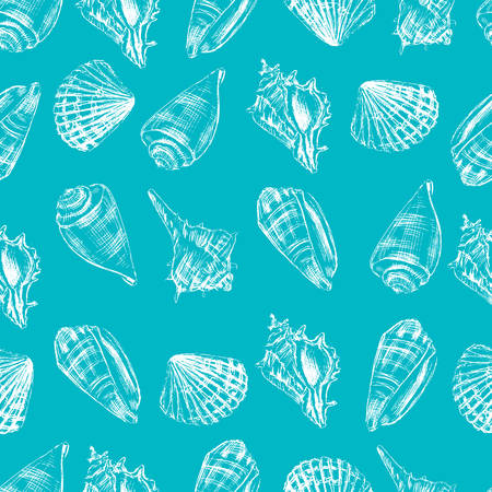 Seashells hand drawn vector graphic etching sketch isolated on white background, seamless pattern, underwater artistic marine blue texture, design for greeting card, decorative textile, water fabric