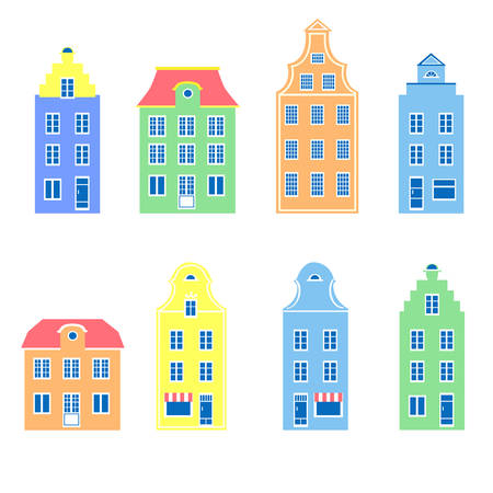 Colorful facade of burgher houses, Vector illustration isolated on white background, Representatives of european architectural styles, Design mansion, Cartoon style building, Make your perfect city