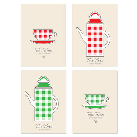 Cups and teapot vector cartoon illustration, Decorative frame, label, Stylish design for tea time, tea party invitation, greeting card, restaurant menu, template page, healthy magazines, cooking