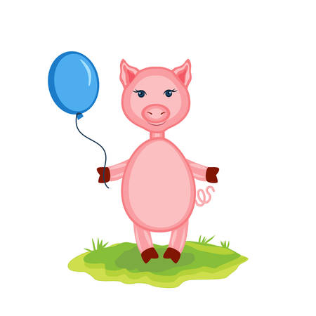 Cartoon cute pink pigs with balloon on green grass isolated on white background, vector illustration farmer domestic animal, Character design for greeting cards, children invite, creation of alphabet