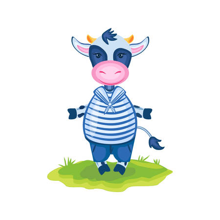 Cartoon calf vector kids farmer animal, domestic cute cow in sea costume standing in green grass isolated, Character design for greeting card, children invite, packaging products, creation of alphabet