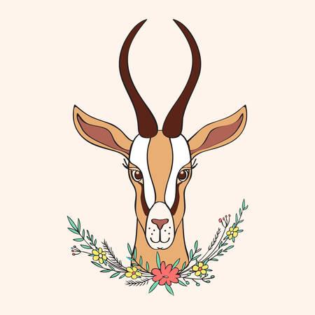 장식 가젤 손으로 그려진 된 벡터 만화 낙서 다채로운 동물 그림, 곡선 된 뿔과 꽃 인사말 디자인을위한 밝은 배경에 고립 된 꽃 꽃다발 인사말 카드