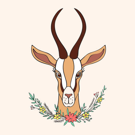 Gazelle décoratif dessiné à main vecteur dessin animé griffonnage animal coloré illustration, antilope safari africaine avec des cornes courbes et un bouquet floral isolé sur fond clair, pour la carte de voeux de conception Banque d'images - 80306917